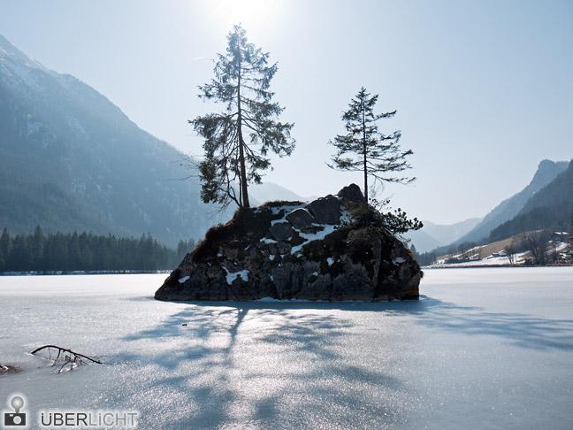 Panasonic Lumix GF2 Hintersee Baeume Sonne Gegenlicht Eis Winter