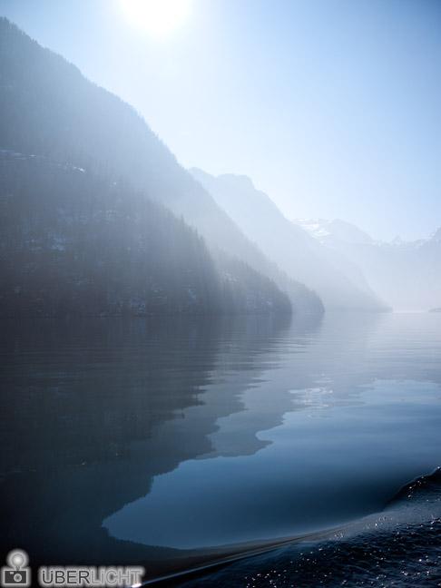 Panasonic Lumix GF2 Koenigssee Wasser Berge Alpen Boot Winter