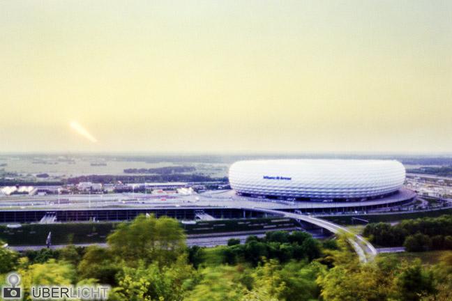 Lochkamera Allianz Arena Camera Obscura Muenchen Stadion Sonnenuntergang