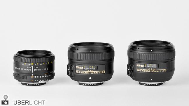 Nikon 50 mm Objektive Vergleich Nikkor 1,4 1,8 AF