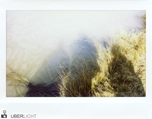Fujifilm Instax 210 Schatten von Personen auf zugefrorenem See und Gras
