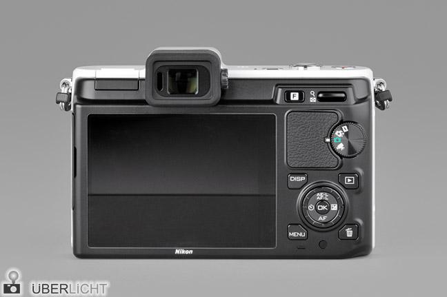 Nikon 1 V1 weiss Rueckseite Display Sucher Bedienung