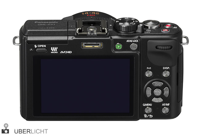 Panasonic Lumix GX1 Rueckseite mit PowerZoom 14-42 in schwarz