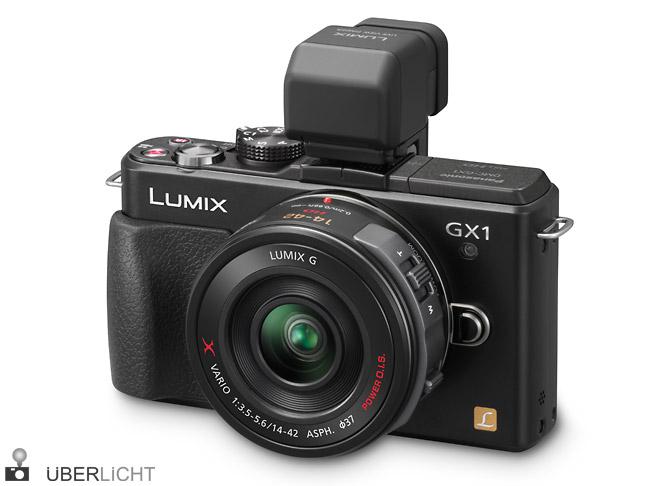 Panasonic Lumix GX1 mit Sucher DMW-LVF2 und PowerZoom-Objektiv 14-42 in schwarz