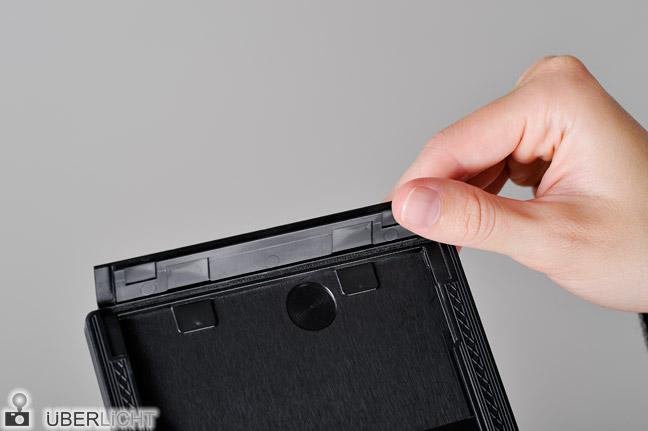 Planfilm 4x5 Kassette einlegen Anleitung Schritt 3