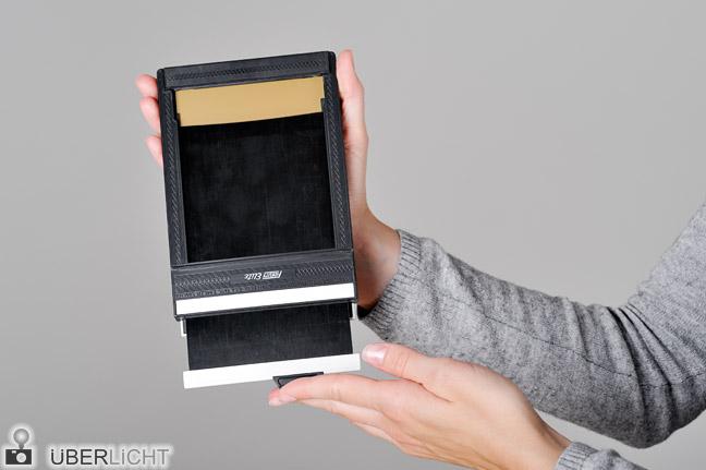 Planfilm 4x5 Kassette einlegen Anleitung Schritt 8