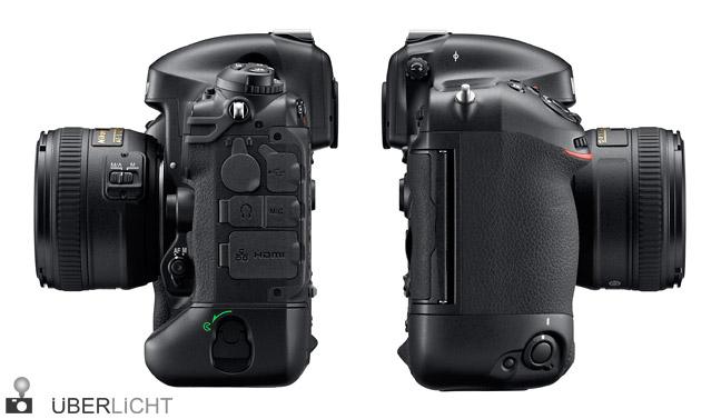 Nikon D4 mit 50 mm 1,4 Seitenansichten und Anschluesse