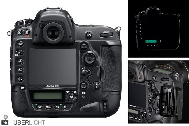 Nikon D4 Rueckseite, Tasten beleuchtet und mit XQD-Slot