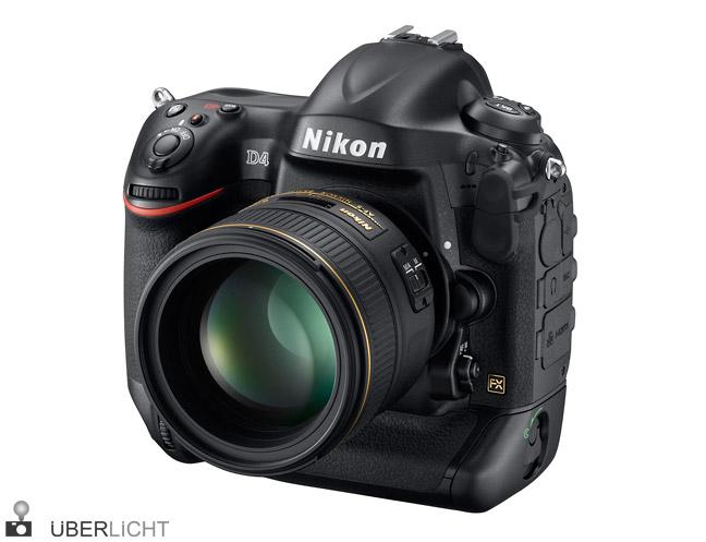 Nikon D4 frontal mit AF-S Nikkor 85mm 1,4 G