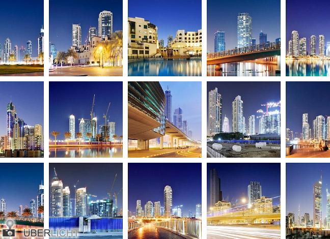 Dubai Nachtaufnahmen von Hochhäusern