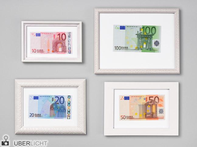 Euro-Geldscheine in Bilderrahmen
