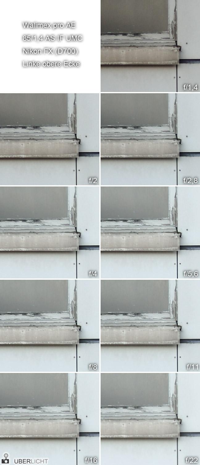 Walimex pro 85 1,4 Nikon D700 FX Randschaerfe