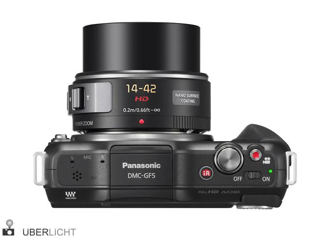 Panasonic Lumix GF5 14-42 x vario zoom oben top ausgefahren on
