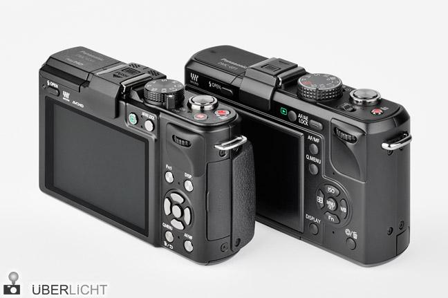 Rueckseiten von Panasonic Lumix GX1 und GF1 im Vergleich