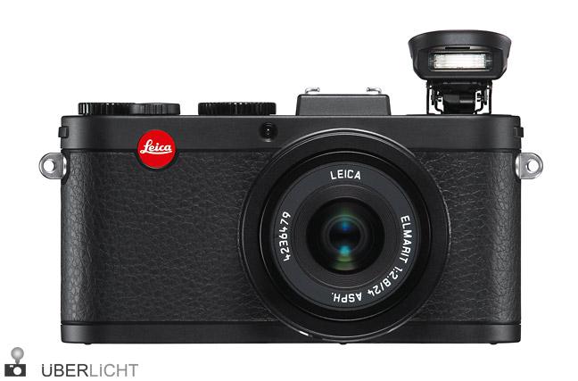 Leica X2 schwarz frontal Blitz