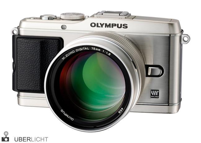 Olympus PEN E-P3 Zuiko 75 mm silber Objektiv