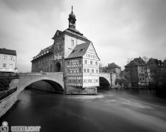 Harman Titan Lochkamera Pinhole Camera Obscura Altstadt Bamberg Fluss 4x5