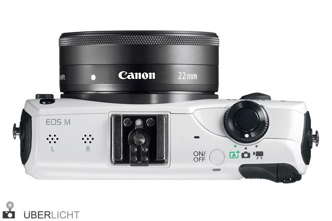 Canon EOS M mit 22mm-Objektiv in Weiss von oben