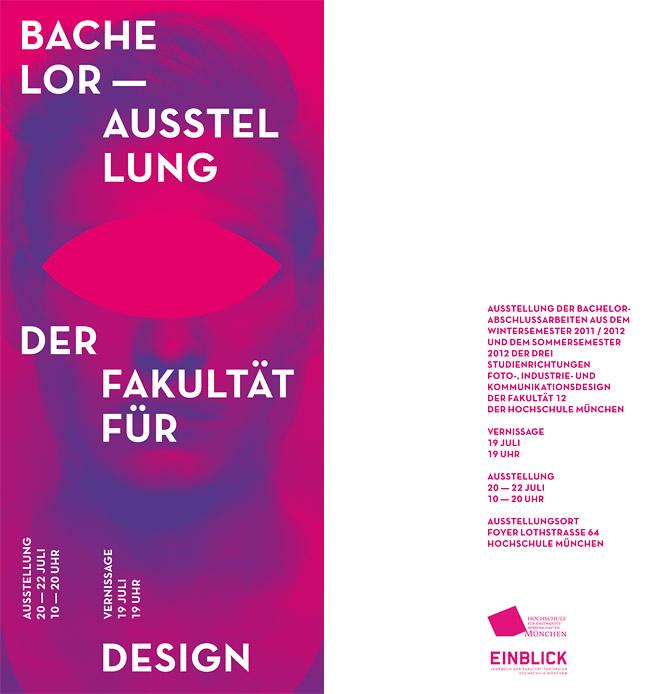 Einladungskarte zur Jahresausstellung 2012 der Fakultät für Design der Hochschule München