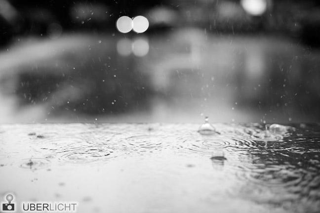 Nikon D800E Regentropfen vor Unschärfe in Schwarz-Weiss