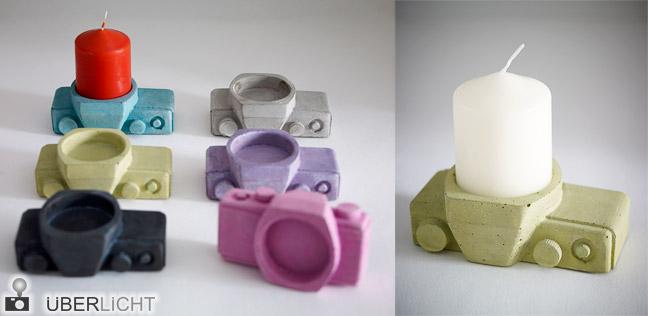 Kerzenständer Brennweite in Kameraform als Geschenk für Fotografen