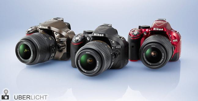 Nikon D5200 in den Farben Bronze Schwarz und Rot