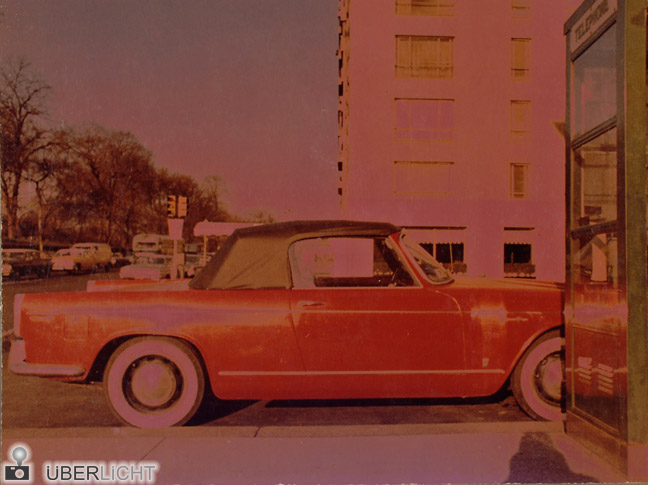Paul Himmel Solarized Car Rotes Cabrio in New York 1966