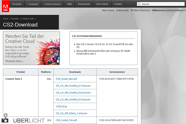Adobe Creative Suite 2 mit Photoshop zum kostenlosen Download