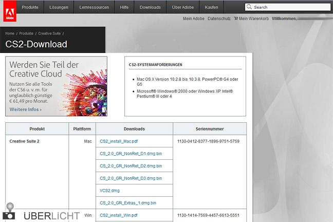 Adobe Creative Suite 2 mit Photoshop zum kostenlosen Download