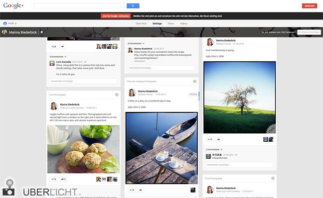 Google-Plus-Profil von Marina Biederbick, Fotografie