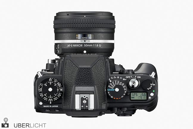 Bedienelemente auf der Oberseite der Nikon Df