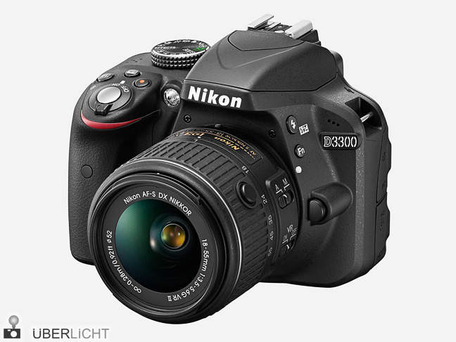 Nikon D3300 DSLR in Schwarz mit 18-55 mm VR II Objektiv,