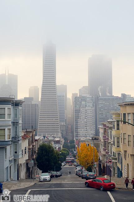 Montgomery Street mit Nebel San Francisco