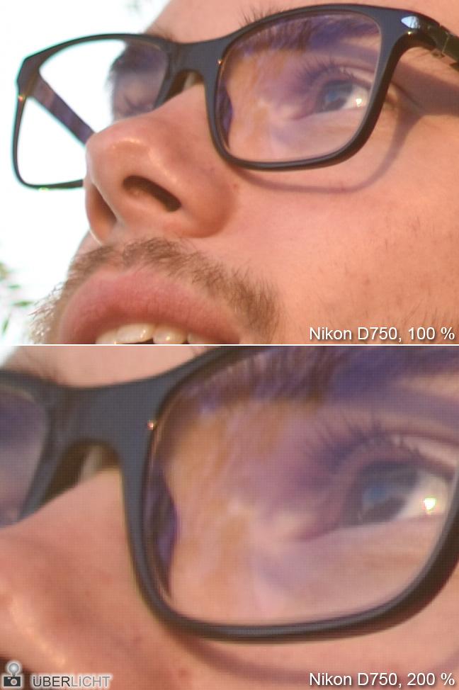 Raster Foto Nikon D750 auf 100 und 200 Prozent