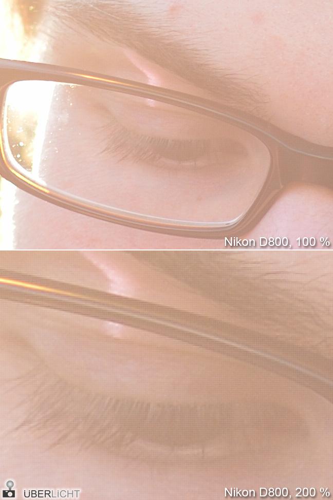 Foto mit Raster aus der Nikon D800 auf 100 und 200 Prozent